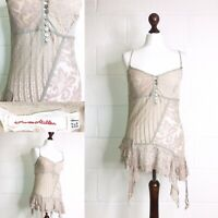 Karen Millen Nude Pink Lacy Top Strappy Lace Boho Hippie Party 12