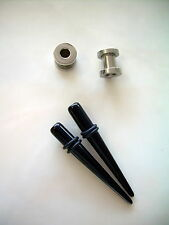 Pair 2g Black Acrylic Tapers & Pair Steel Screw Tunnel Plugs Ear 2 Gauge z