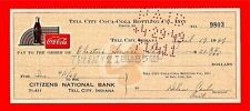 1949 Coca cola Tell City Ind Old Bottling Co Check 9803