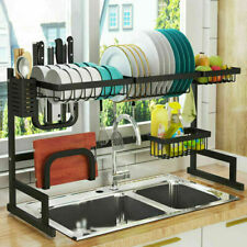 2 Shelf Over The Sink Dish Drying Rack Stainless Steel Kitchen Cutlery Holder