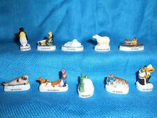 ARCTIC Inuit ESKIMO SEAL Polar Bear Set 10 Mini Figurines FRENCH Porcelain FEVES