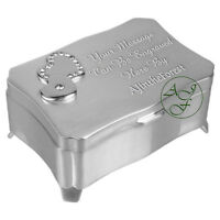 Personalised Engraved Silver Plated Trinket Jewellery Box with Hearts & Crystals