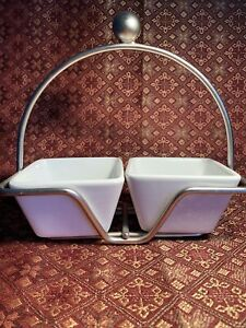 Pampered Chef Simple Additions Small Bowl Silver Caddy & 2 Small Square Bowls