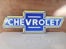 LARGE VINTAGE ''CHEVROLET'' GAS & OIL PORCELAIN 20X7 INCH  HEAVY METAL!