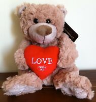 Brown Teddy Bear Love Heart/Valentines Gift Kissabelle Sml FAULTY Kissing Sound