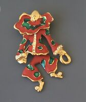 Vintage Clown with movable legs brooch in enamel on gold tone metal