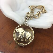Vtg Warner Crystal Elephant Bracelet Gold Tone Dangle Good Luck Charm Rare