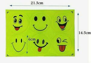 set of 2 reflective stickers smiley face strip reflectors for bike car anything