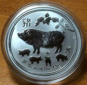 2019 1 oz YEAR OF THE PIG..SILVER LUNAR ISSUE in CAPSULE..SERIES II..AS NEW.