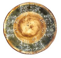 Ambiance St Remy White Embossed Scrolls Green Brown Rustic Salad Dessert Plate