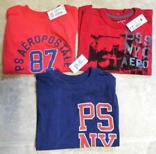P.S. Aeropostale 3Pcs LOT boys T-Shirt Size 4 Red Navy Short Sleeves New NWT $56