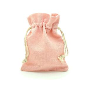 12 x Pack Soft Pink Natural Linen Drawstring Gift  Bags - Wholesale Bulk Buy