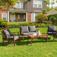 4PCS Wooden Patio Furniture Set Table Sofa Chair Cushioned Garden Outdoor