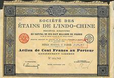 STE DES ETAINS DE L' INDO-CHINE SCRIPOPHILIE ACTION 1926