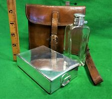 More details for james dixon hunting flask and silver plated sandwich tin