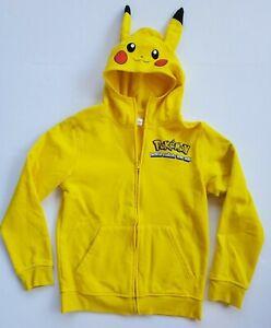 Pokemon Pikachu Kids Size Large 10-12 Hoodie Jacket Full Zip Yellow Costume