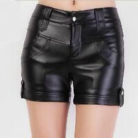 Womens Ladies High Waist Elastic Slim Faux Leather Shorts Pants Black Trousers