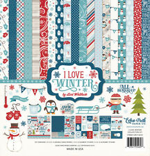 ECHO PARK PAPER CO I LOVE WINTER SNOW DAYS SCRAPBOOK KIT PAPERS & STICKERS