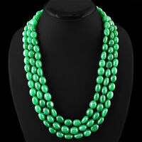 FINEST 845.00 CTS EARTH MINED 3 STRAND RICH GREEN EMERALD OVAL BEADS NECKLACE