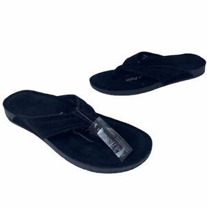 Heel That Pain Mens Flip Flop Sandals Black Fascia Bar Technology Slip On 12 New