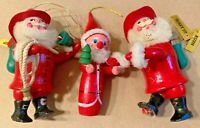 VINTAGE CHRISTMAS HOLIDAY ORNAMENTS FIGURINES SANTA CLAUS WOODEN PAINTED Lot 3