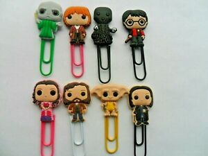 Lovely Set of  EIGHT  Harry Potter  Bobblehead Cartoon Bookmark Paperclips