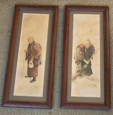 vers 1930 2 Dessins vieillards japonais Signé S. Hodo Art traditionnel Japon