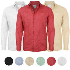 Men's Guayabera Cuban Beach Long Sleeve Button Up Casual Dress Shirt SLIM FIT