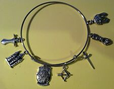 Silver Wire Expandable Bracelet Hunger Game Throne Armor Bow 7 Silver Charms