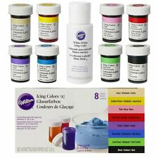 Wilton Icing Paste Food Colour Concentrated Gel Cake Pack of 8 + White White