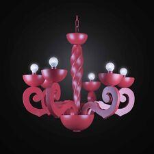 LAMPADARIO MODERNO IN LEGNO E CERAMICA ROSSO A 3+3 LUCI BGA 2748-3-3