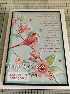 ANNIVERSARY CARD, HANDMADE 3D COLORFUL BIRD WITH 'BIRDSONG' SENTIMENT