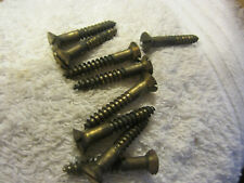 """New listing Vintage lot of 9 brass wood screws,1 1/2"""" long,3/16"""",recessed head,flat slotted"""