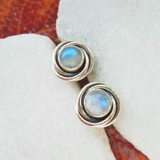 Mondstein, rund, blau, schlicht, Ohrstecker, Ohrringe, 925 Sterling Silber, neu