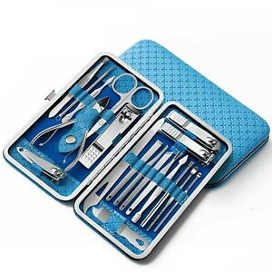 19PCS Pedicure Nail Toe Clippers Manicure Kit Cleaner Cuticle Grooming Set Case