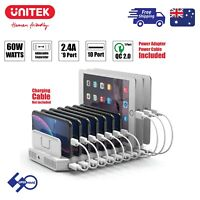 10-Port 60W Charging Station QC Fast Charge USB Hub Dock for iPad/Android Tablet