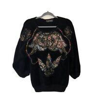 Vintage 80s 90s Castelbajac Sweater Jumper Wearable Art Designer  L Patchwork