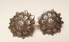 ANTIQUE BLOOMING FLOWER SCREW EARRINGS STERLING SILVER 925 (16.8g)