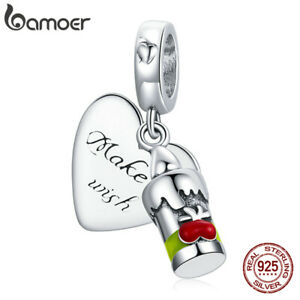 BAMOER European S925 Sterling Silver DIY Charm Love candle Bead For Bracelet