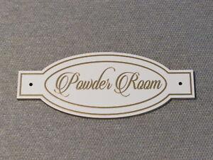 POWDER ROOM Wood Bathroom Door Sign Plaque Restroom Gold Letters