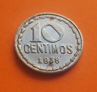 @REPRODUCCION COPIA@ 10 CENTIMOS 1938 REPUBLICA ESPAÑOLA KM.756 Hierro SC España