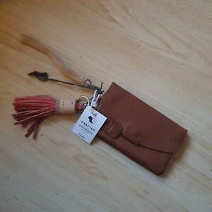 CLARKS leather PURSE With TASSEL..tan BNWT