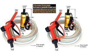 12 volt 24v Electric Fuel Bowser Guns Diesel Oil Submersible Drum Pump + Nozzle