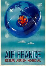 ORIGINAL Vintage Airlines Travel Poster 1948 AIR FRANCE Global Network Seahorse
