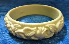 Vintage Cream Colored Celluloid Bangle Bracelet - Floral Motif