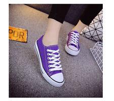 Women/Men's Canvas Casual Low Top Sneakers Lace Up Flat Plimsoll Shoes 21 Colors