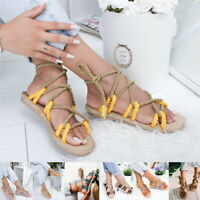 Womens Flat Toe Ring Rope Braided Sandals Ladies Strappy Shoes Summer Size T99