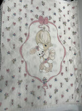 Precious Moments Baby Blanket Quilt Vintage comforter lovey PINK dolly bunny