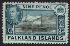 FALKLAND ISLANDS 1938 KGVI SHIP 9D MNH **