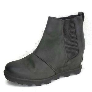 SOREL Joan Of Arctic Chelsea Booties Black Leather Hidden Wedge Boot Size 8 US
